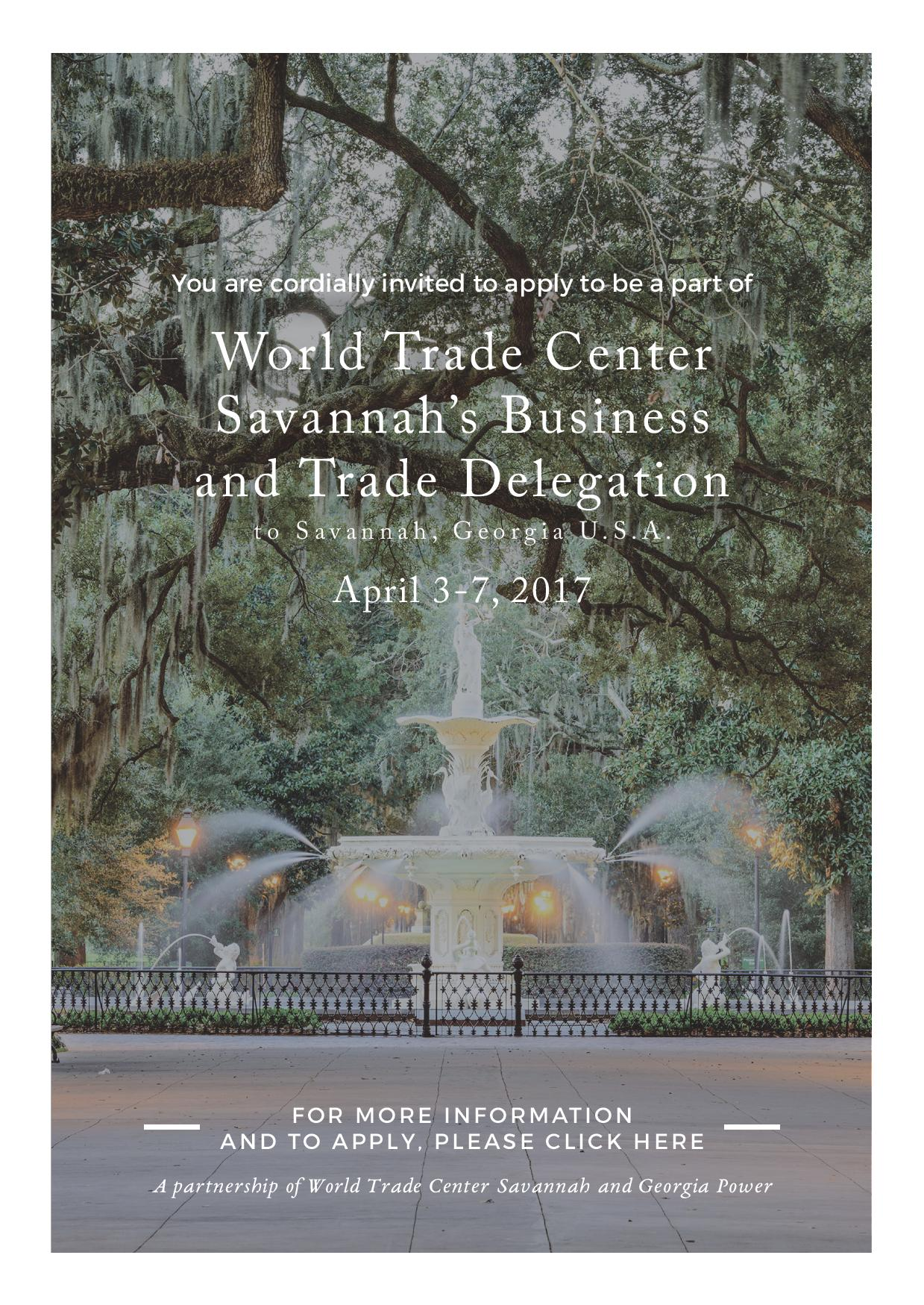 INVITATION: World Trade Center Savannah's Business and Trade Delegation to Georgia USA