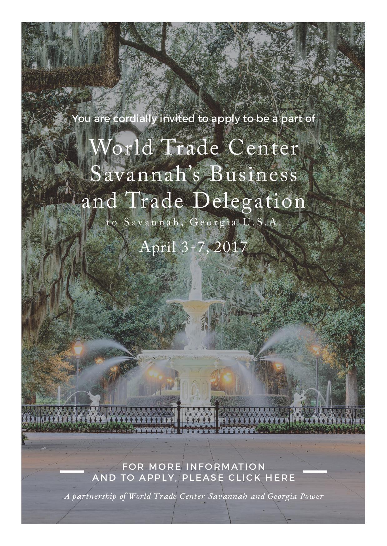 INVITATION: World Trade Center Savannah's Business and Trade Delegation to Georgia USA